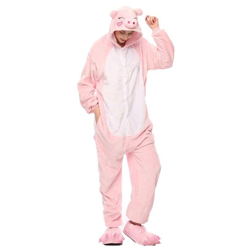 Cerdo adulto Kigurumi mujeres hombres dibujos animados Animal Cosplay disfraz invierno Onesie pijama con capucha pareja divertido traje de fiesta