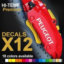 12 sztuk PEUGEOT 206 207 307 GTI HI-TEMP PREMIUM zacisk hamulcowy naklejki naklejki naklejki CAST VINYL 5 sztuk 9.3x1.3cm 7 sztuk 7.5x1cm