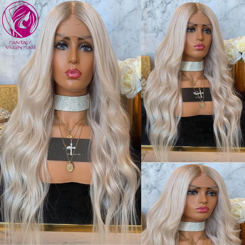 Ombre Human Hair Lace Front Wig 13x4/13x6 Silver White Blonde Lace Wigs Natural WAve Remy Hair Pre plucked Hairline Glueless