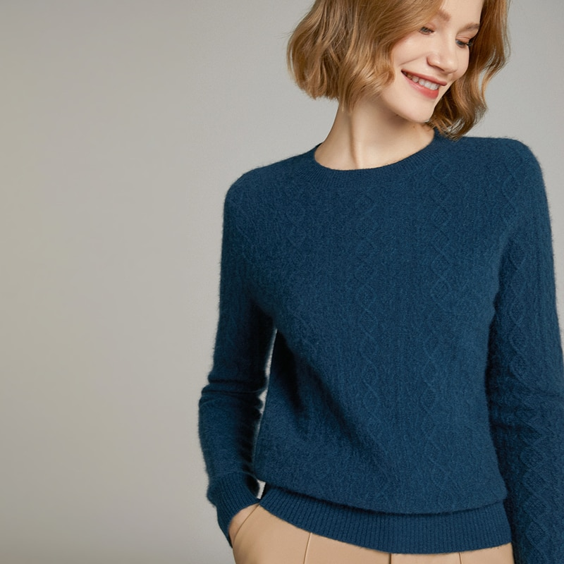 2021 woman winter 100% Cashmere sweaters knitted Pullovers jumper Warm Female O-neck blouse blue long sleeve clothing