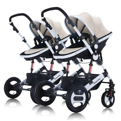 Twin Baby Stroller Can Be Split and Can Sit and Lie High Landscape Double Car Baby Stroller Stroller  Travel Stroller