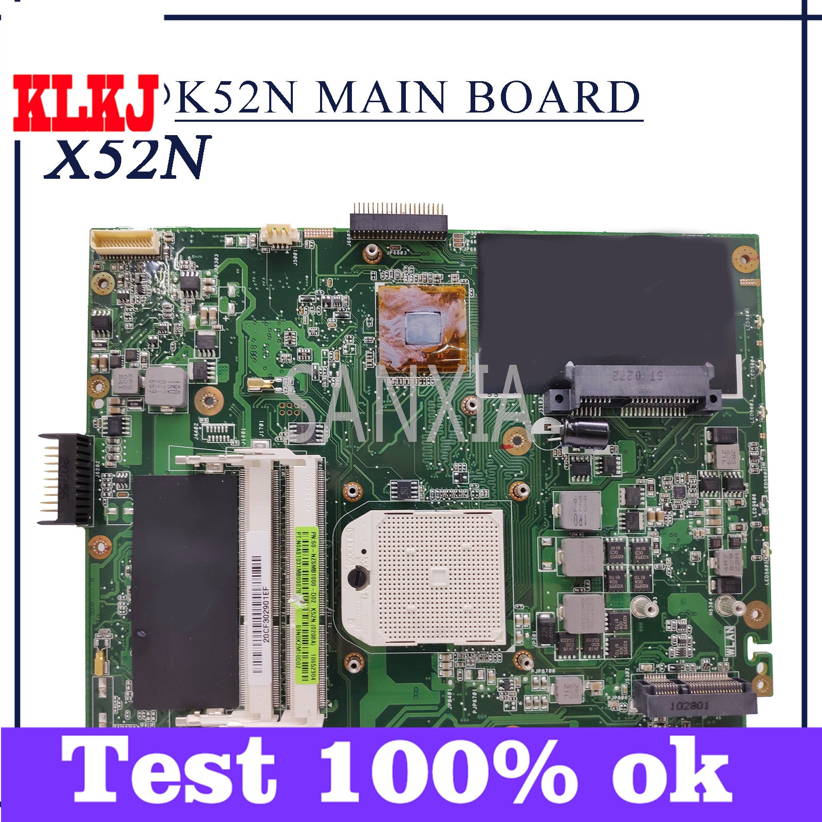 KLKJ K52N اللوحة الأم لأجهزة الكمبيوتر المحمول ASUS X52N A52N اللوحة الرئيسية الأصلية