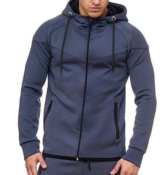 Cárdigan deportivo ajustado 2019 para hombre, de Color sólido Sudadera con capucha, abrigo Casual de moda, camisetas K07