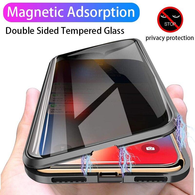 Funda magnética de vidrio templado Anti fisgones para iPhone 6 S 6 s 6 8 7 Plus 11 Pro Max X XS MAX XR, funda magnética de Metal para protección de la privacidad