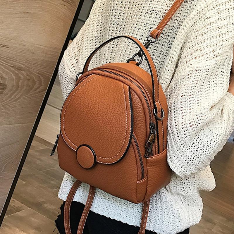 Модный дизайнерский женский кожаный рюкзак, миниатюрный Многофункциональный Маленький ранец на ощупь, дамская сумка на плечо, кошелек для ...