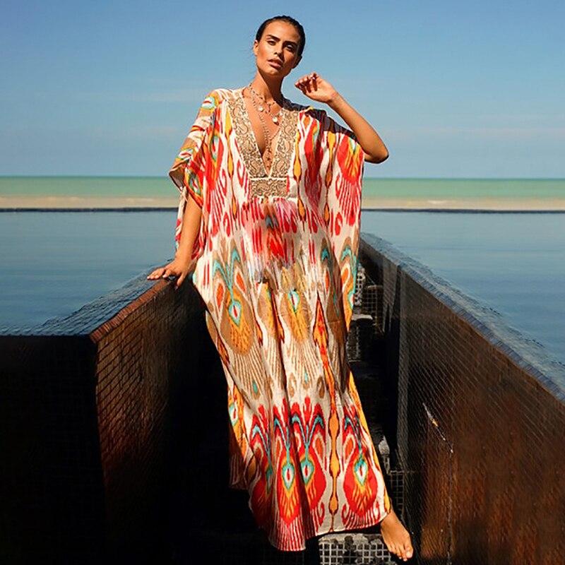 Boho maxi longo kaftan vestido vintage paisley impressão batwing manga quimono vestidos praia casual solto túnica cover-ups vestido playa