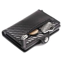 2021 Purse RFID Metal Card Holder Button Coin Wallet Protection Fashion Carbon Fiber Wallet Men Slim