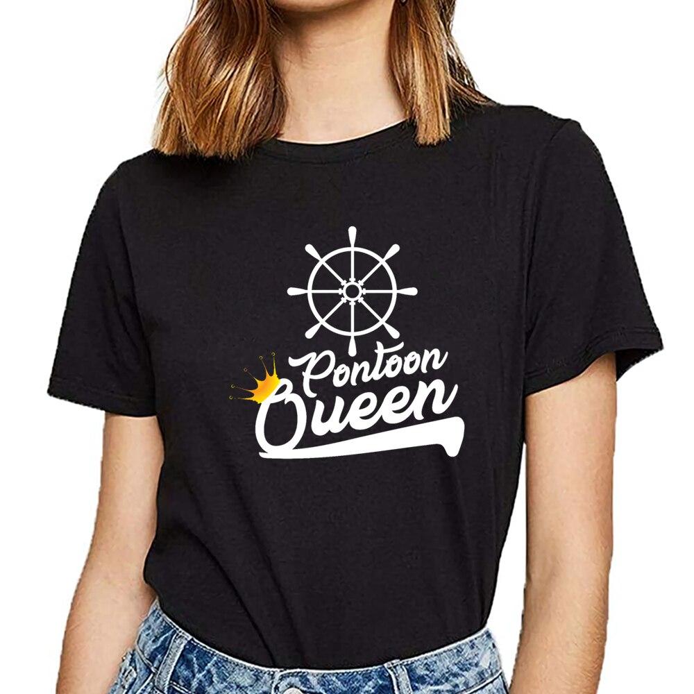 Tops camiseta mujer pontón queen gracioso pontón barco accesorios diseño negro personalizado camiseta femenina
