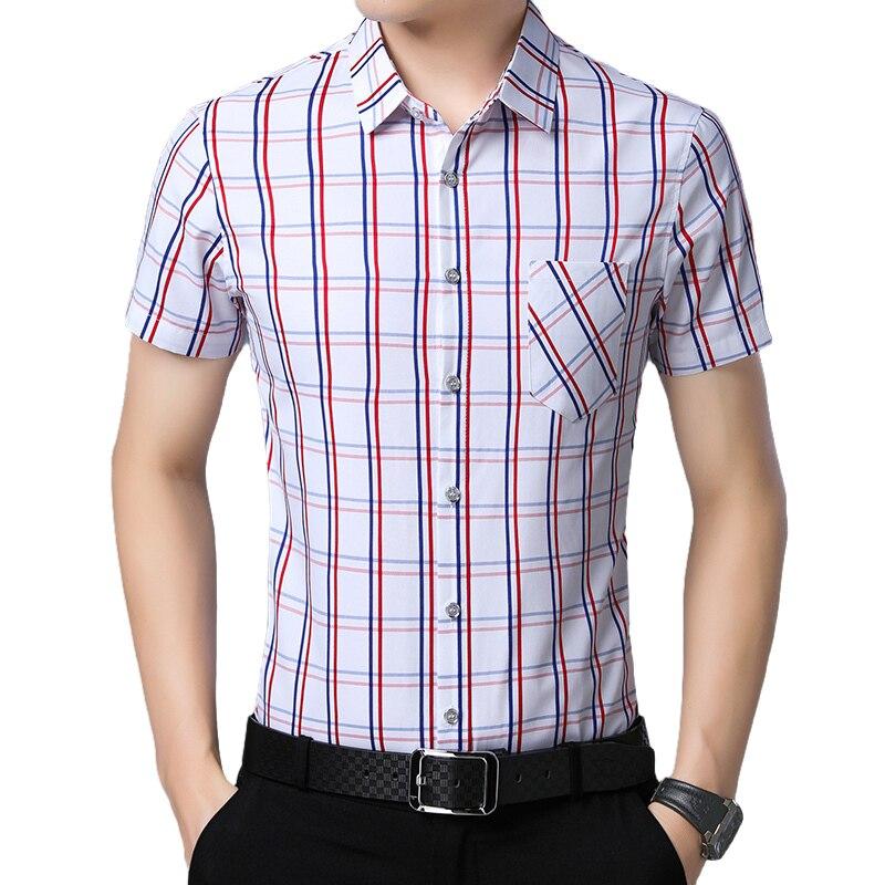 Прямая поставка, лидер продаж, дешевая мужская модная повседневная приталенная клетчатая рубашка с коротким рукавом