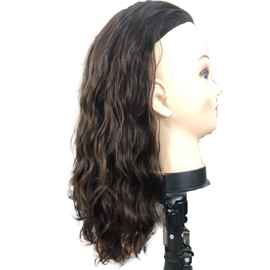 Wavy Human Hair 3/4 Half Wigs Sheitels Kosher Wig Slight Wave Hairpiece None Lace Wig with Combs or Clips for Jewish