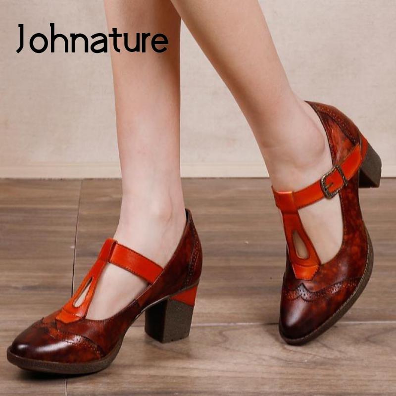 Johطبيعة-حذاء نسائي بكعب عالٍ من الجلد الطبيعي ، حذاء نسائي بكعب عالٍ ، نمط ريترو ، مقدمة مستديرة ، مخيط ، غير رسمي ، صناعة يدوية ، ربيع 2021