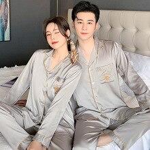 Couple Pajamas Women's Thin Spring New Ice Home Wear Long-Sleeved Cardigan Silk Men's XL Set