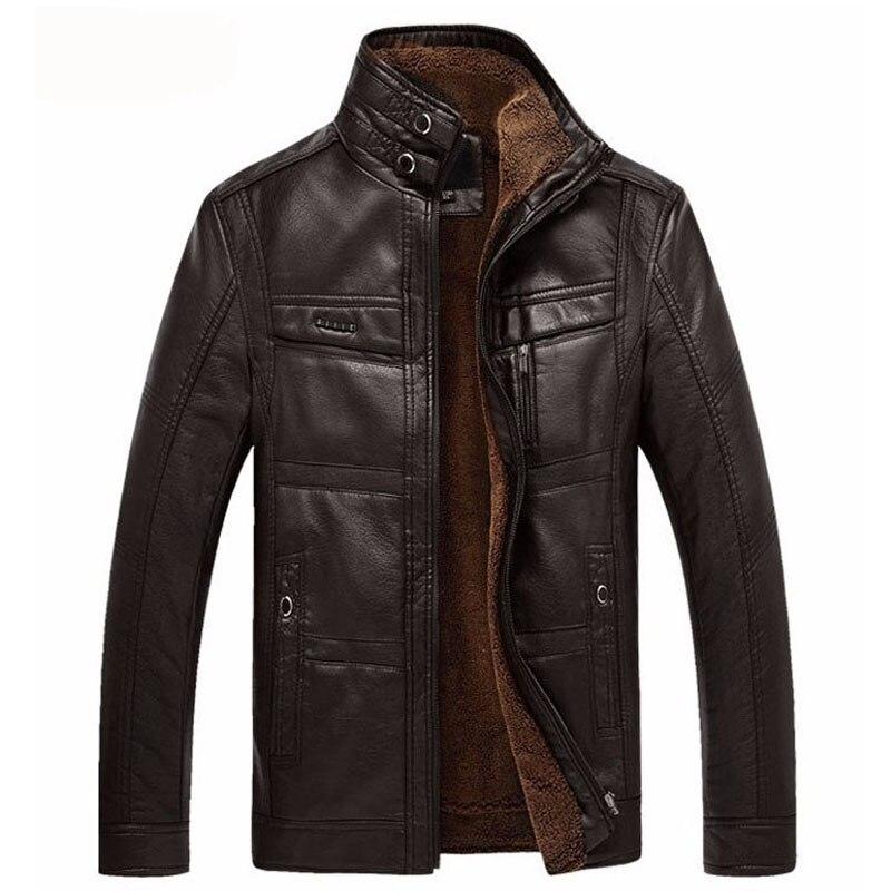 سترة جلدية للرجال عالية الجودة بلون الوقوف طوق جلد الصوف الدفء معطف ضئيلة 3 ألوان 2021 جديد الشتاء الملابس