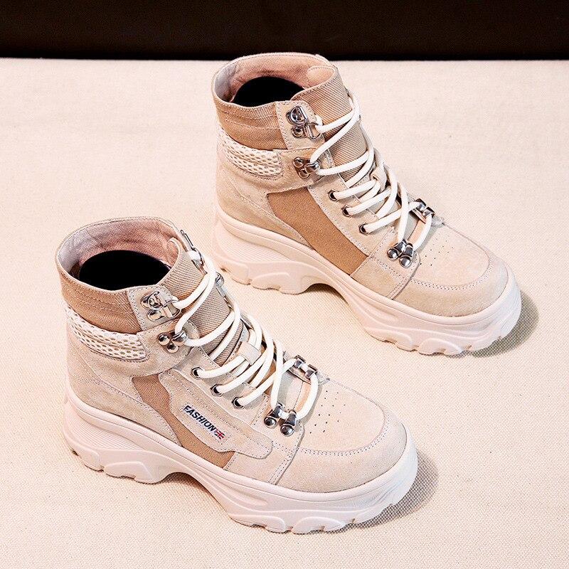 Botas de cuero genuino de mujer botas de moda de plataforma con cordones botas de tobillo informales aumento dentro de los zapatos de mujer Compras gratis