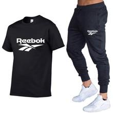 2021 summer men's T-shirt set 2 pieces of men's sportswear suit sports fitness printing short-sleeve