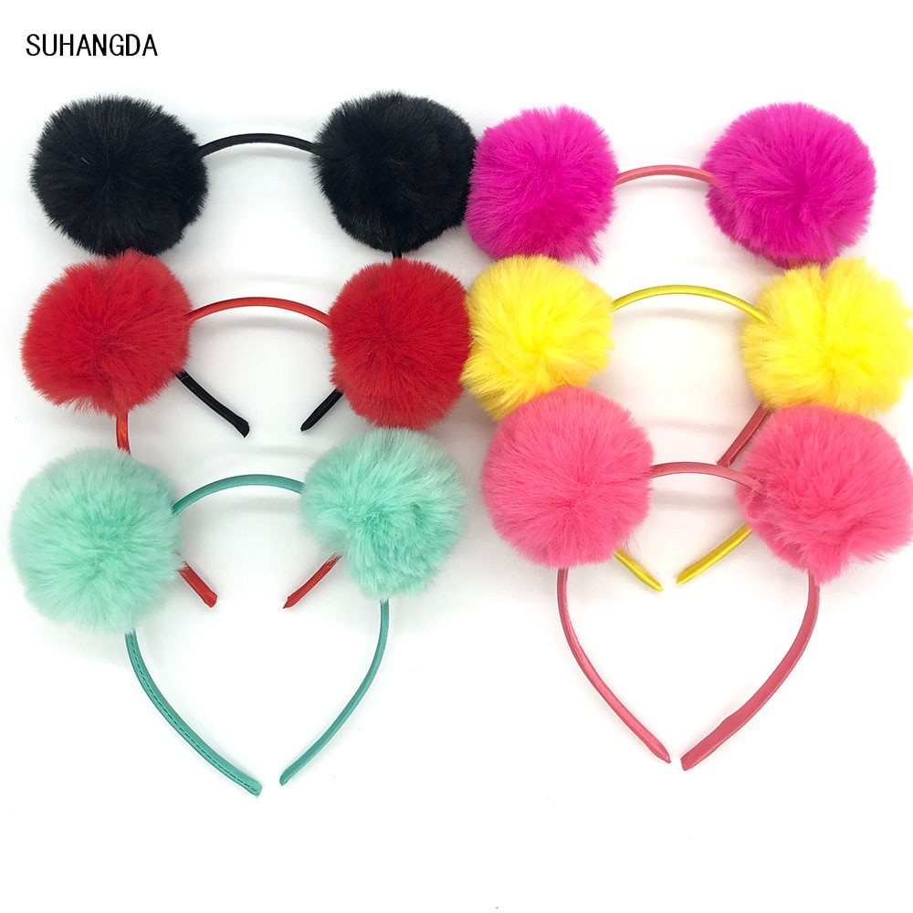 Orejas de Panda de color liso lindo aro de pelo doble grande brillante colorido esponjoso BOLA DE pompón niñas diadema banda de pelo orejas de gato