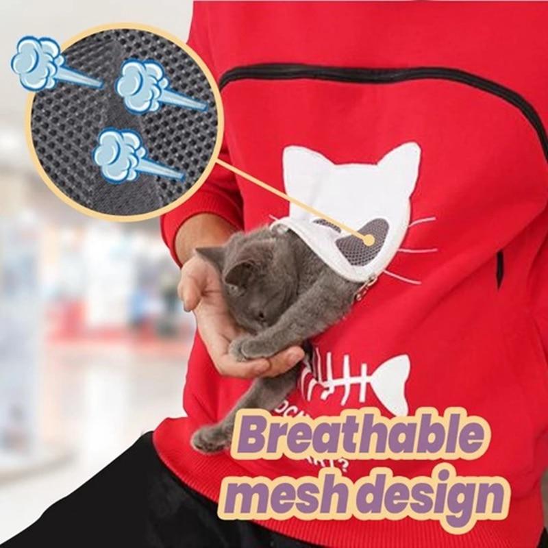 Sudadera con capucha y bolsillo para mascotas, moda 2020, sudaderas con estampado de gato para mujer, soporte para el nido de gato, bolso con capucha de Animal, sudadera transpirable