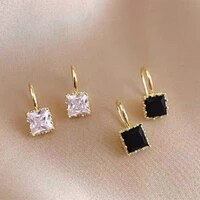 exquisite small and simple square zircon earrings womens black and white crystal irregular earrings elegant pendant jewelry