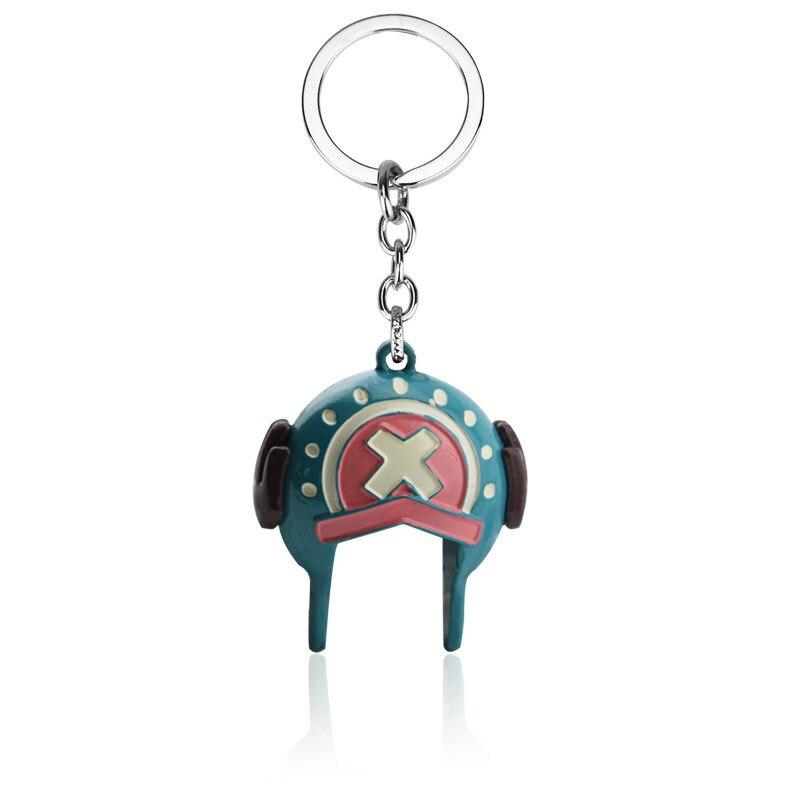Caliente Anime una pieza helicóptero sombrero azul 3D llavero modelo de moda lindo creativo colgante hombres chico chica llavero coche Chaveiro