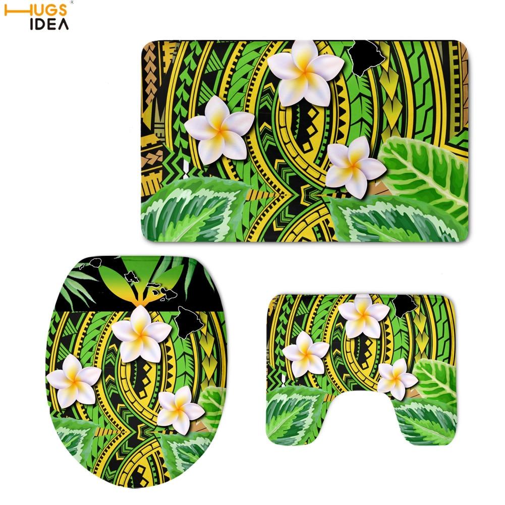HUGSIDEA Polynesian Style Plumeria Design Home Set Toilet Seat Cover Bathroom Mat Flannel Anti Skid Commode Pad Toilette Decor