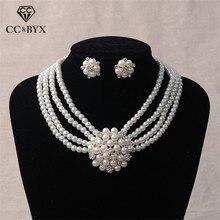 CC ensembles de bijoux de mariage collier de perles boucles doreilles pendentif accessoires de fiançailles pour les demoiselles dhonneur nuptiales cadeaux romantiques TL203