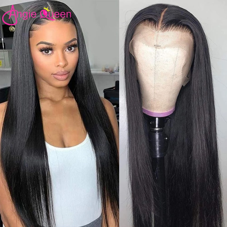 13x4 T-part Lace Frontal Wig 26 Inch Straight Human Hair Wigs With Baby Hair Remy Hair Brazilian 4x4 Lace Closure Wig For Women