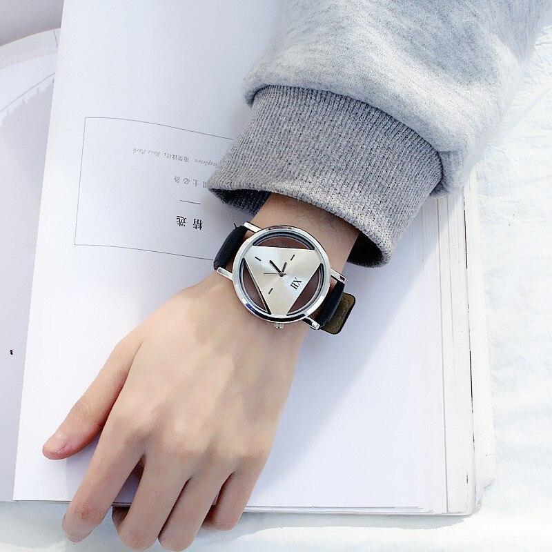 Relojes de cuarzo para mujer triángulo hueco a la moda, novedad Simple y reloj de pulsera creativo de individualismo, reloj de cuero blanco negro