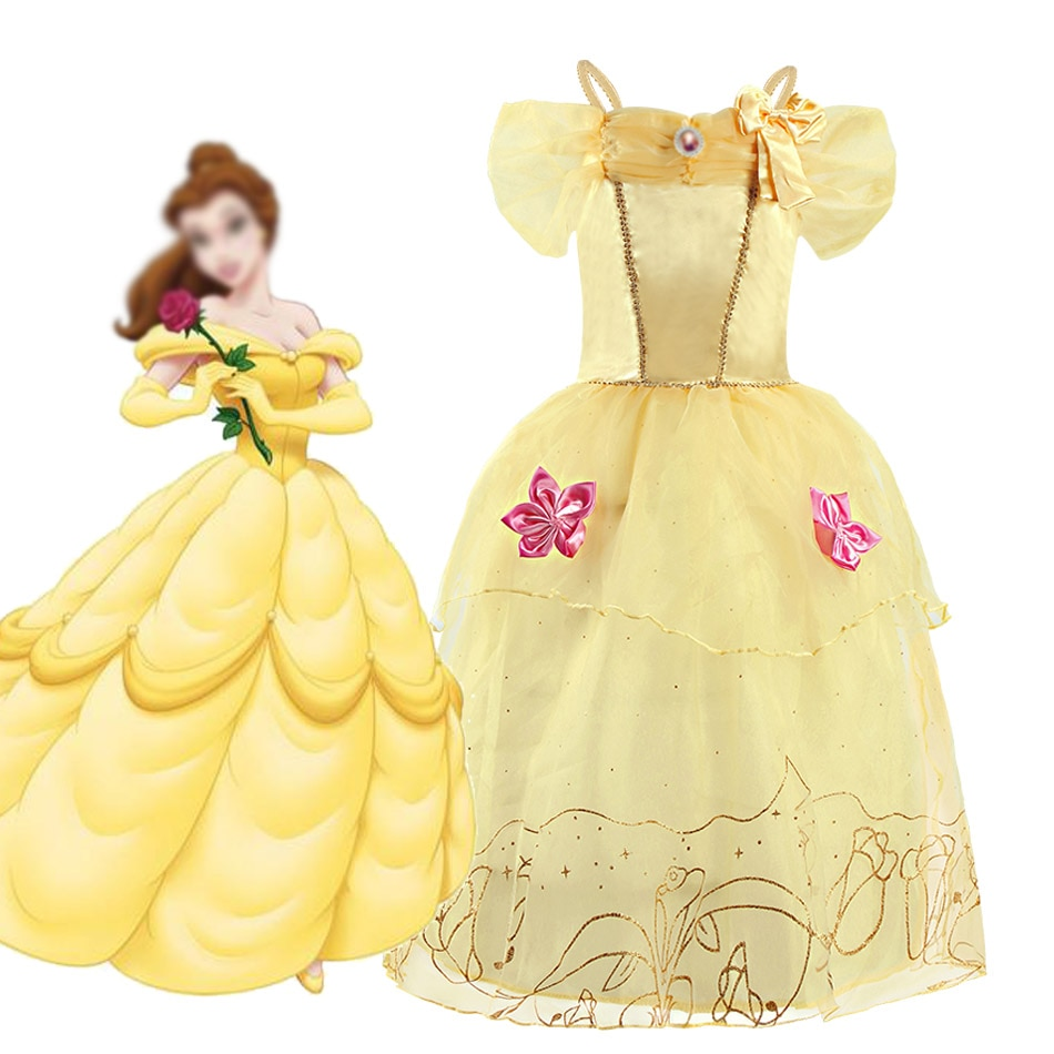 belle princess tutu dress girls tulle party wedding flower girl dresses yellow kids halloween beauty beast cosplay dress costume Beauty and The Beast Belle Dress Girl Belle Cosplay Costume Baby Girl Kids Christmas Birthday Party Prom Dress 2 4 6 8 10T