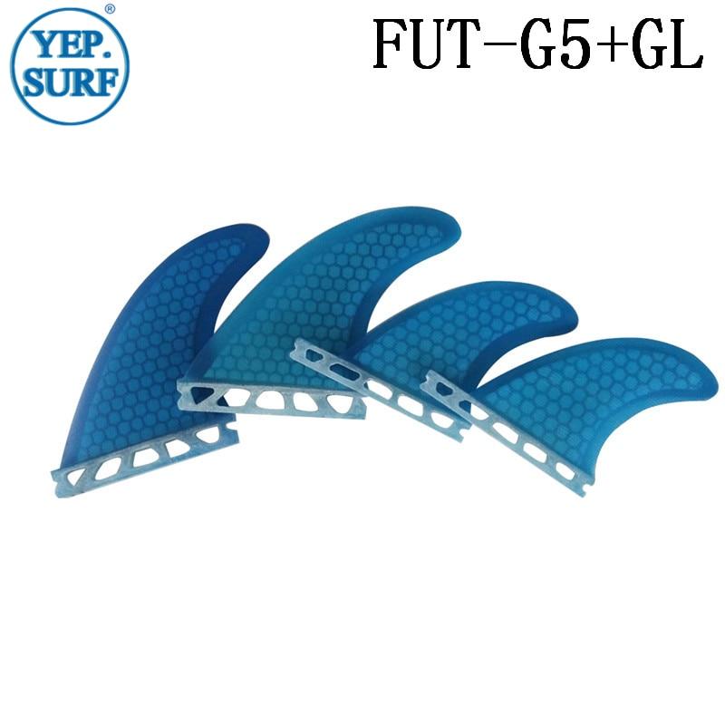 Tabla de surf Future G5 + GL Blue juego de aleta cuádruple aleta de fibra de vidrio panal aleta color naranja