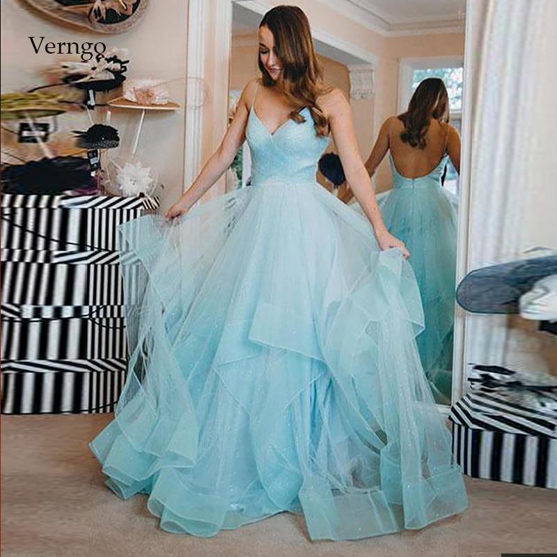 Verngo Blue Tulle Evening Dress Vintage Formal Dress Backless Party Gown Fashion Prom Dresses Long Vestidos De Fiesta