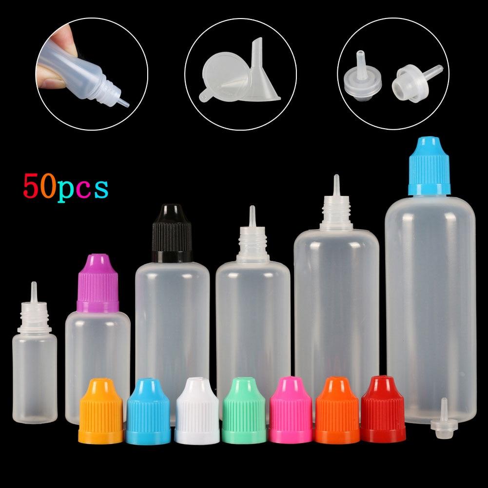 50pcs(3ml-120ml) Dropper Bottles LDPE Empty Squeezable Eye E Liquid Juice Smoke oil Container CRC Cap Dropper Tip + Funnels