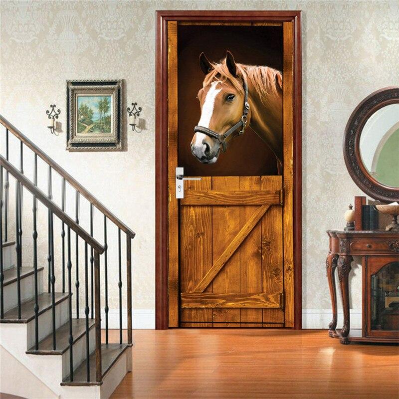 Pegatinas de puerta 3D Para Puertas, Vinilos removibles Para Puertas, papel tapiz...