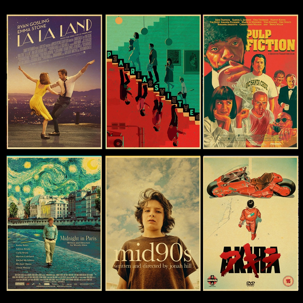Vintage clássico filme coringa/pulp fiction/parasita retro cartaz de papel kraft alta qualidade casa sala arte impressão adesivos parede