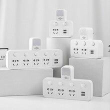 Power Streifen Konverter Tragbare Travel Home Office Adapter Buchse mit Nacht licht 2USB Port Individuelle Switche 1 2 3 4AC outlet