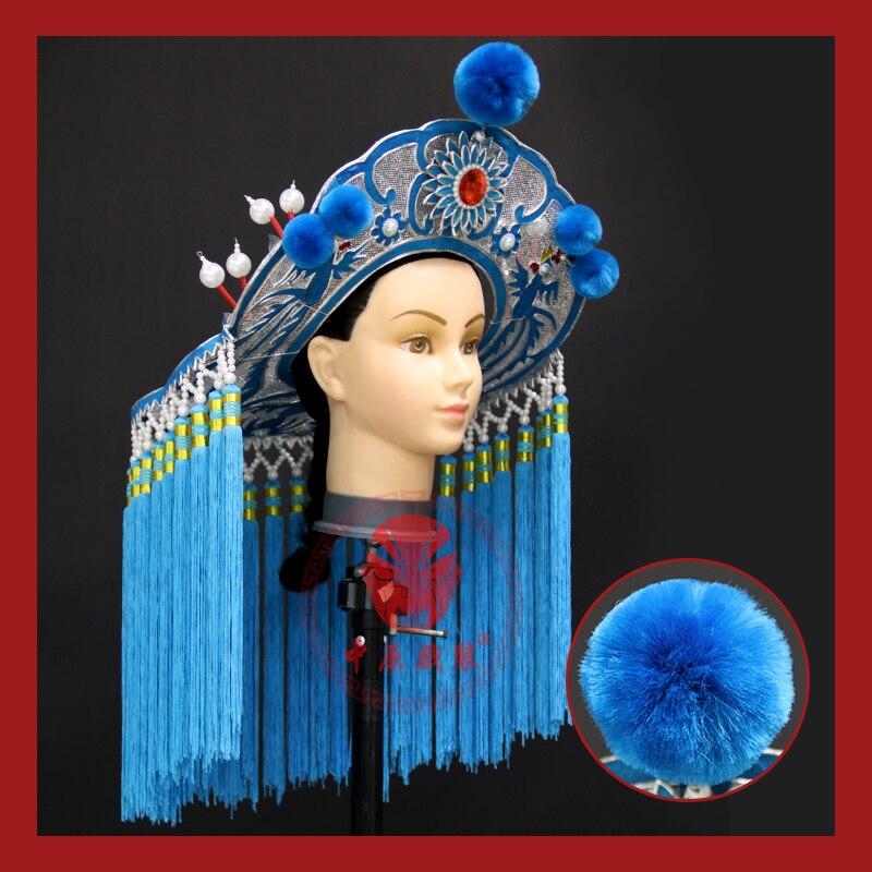 2021 بكين أوبرا الإناث فارس المخطئين قبعات يرتديها الفاعلة كبيرة المطر قبعة شهم الخبراء المبارز الأزرق قبعة للنساء