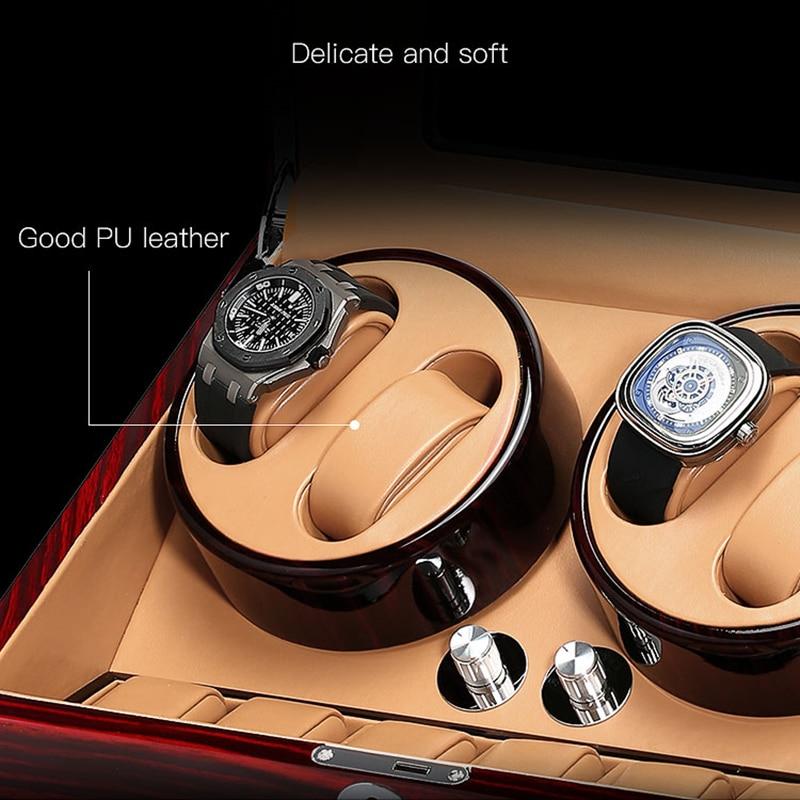 Luxury watch box mechanical watch winder locker automatic winding fine watch display cabinet 1 2 4 6 slots with silent motor enlarge