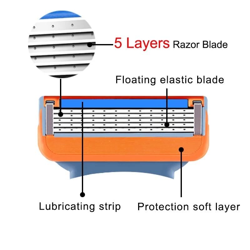 Shaving Razor Blades For Gillette Fusion 5 Face Shaver Cassettes Straight Razor Blade Shave Beard Case Replaceable Heads For Men