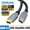Unnlink 광 HDMI 케이블 광섬유 HDMI 2.0 케이블 4K 60Hz 10m 15M 20m 30m HD LED TV 노트북 PS4 XBOX 프로젝터 분배기 스위치