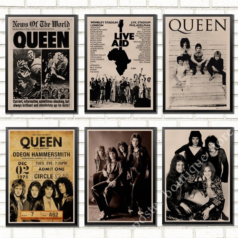 Queen Band Music Kraft Paper Poster Freddie Mercury,Brian May Vintage High Quality Drawing core Decorative Painting Wall Sticker
