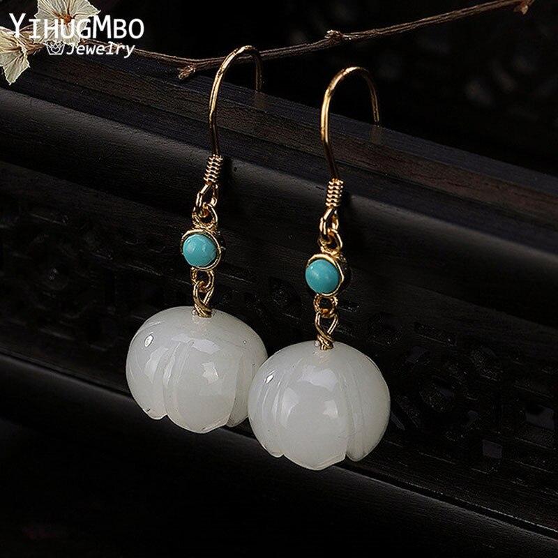 YIHUGMBO Real S925 Natural gema cuelga los pendientes para las mujeres Hetian Jade flor colgante elegante boda plata pendiente joyería