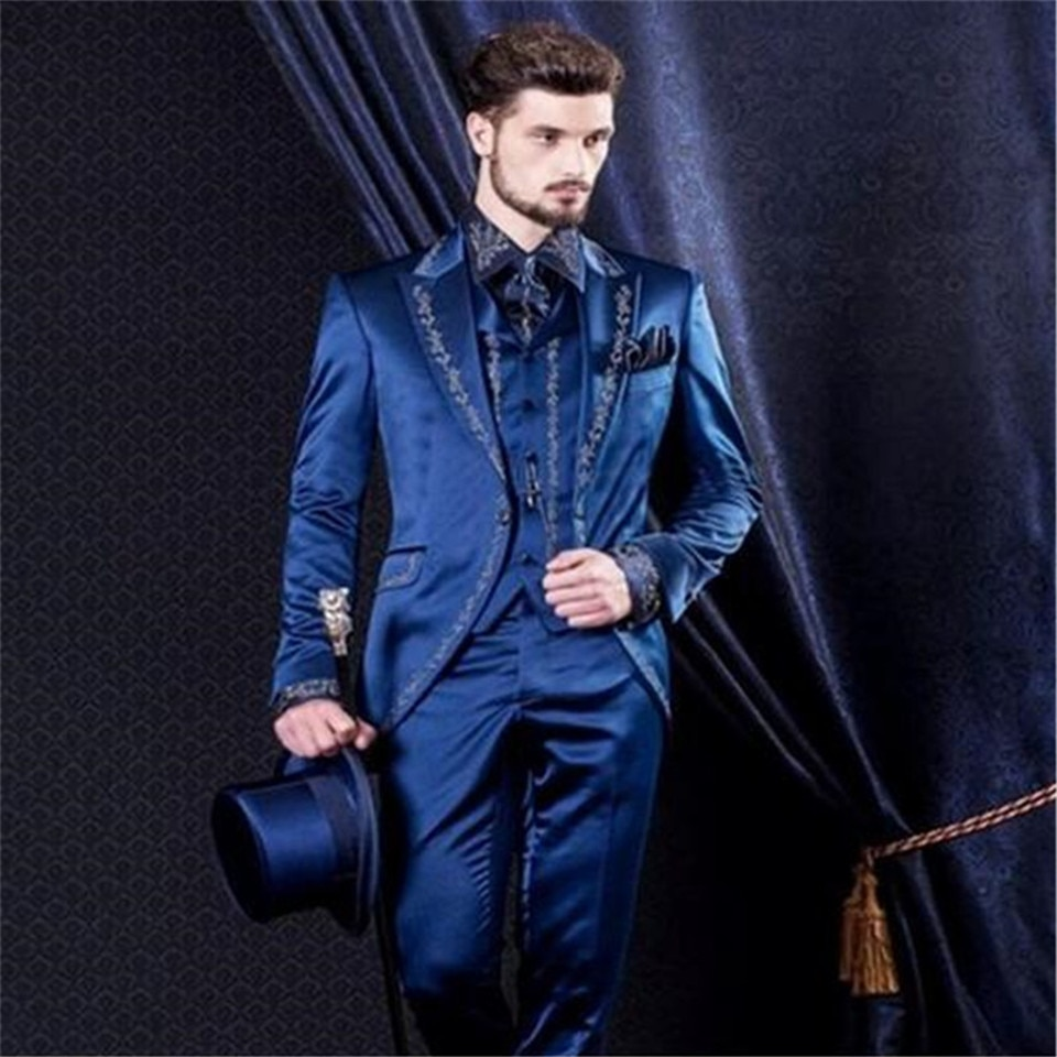 بدلة رجالية كلاسيكية ، طقم بدلة رسمية ، لحفلات الزفاف ، والحفلات الراقصة ، والتطريز ، وسترة وسراويل