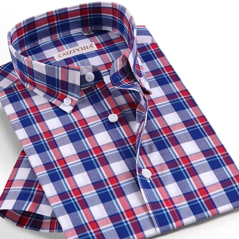 Camisa a cuadros de manga corta de verano para hombre, bolsillo con diseño sin camisa a cuadros, informal con cuello abotonado, camisas de 100% estándar de guinga de algodón