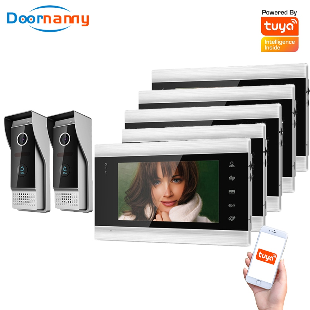 Doornanny Villa Apartment WiFi Video Intercom System 2Doorbell To 5Monitors Tuya Doorbell Doorphone 2Doors Intercom Kit AHD 720P
