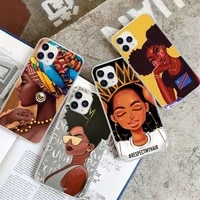 african beauty afro puffs black girl transparent phone case for huawei p20 p40 lite p30 pro p smart 2019 honor 10 10i 20 lite