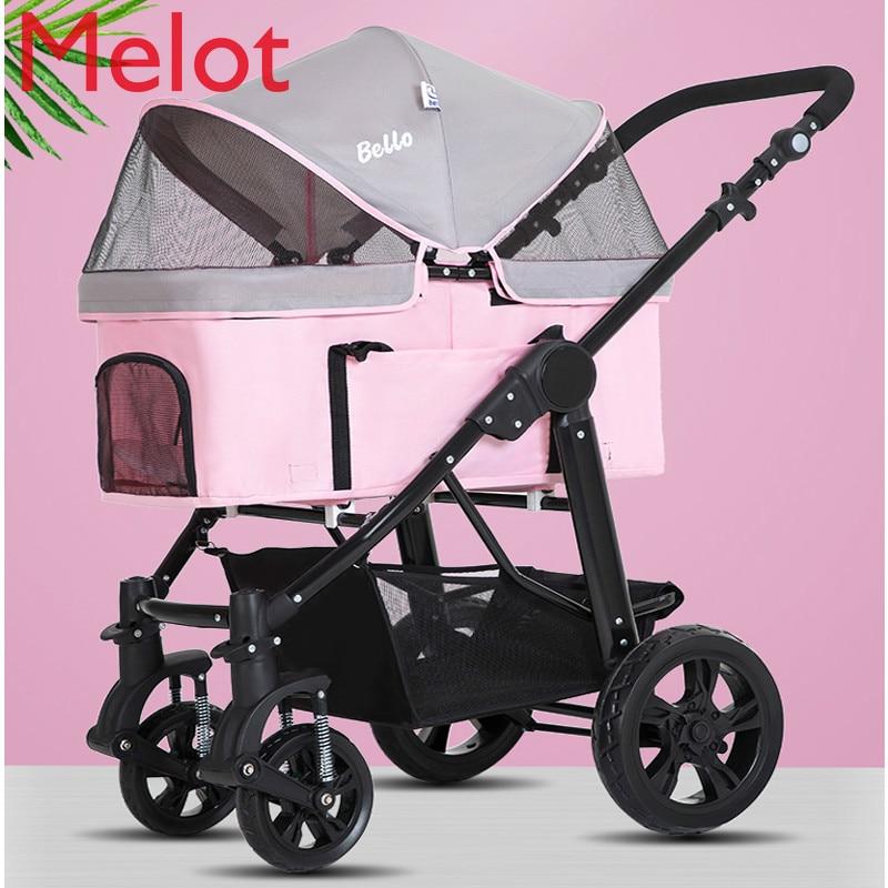 Pink Large Pet Stroller High Quality Dog Stroller Rescue Dog 4-wheeled Outbound Supplies Box Pet Carrier Big wheel Bearing 20kg