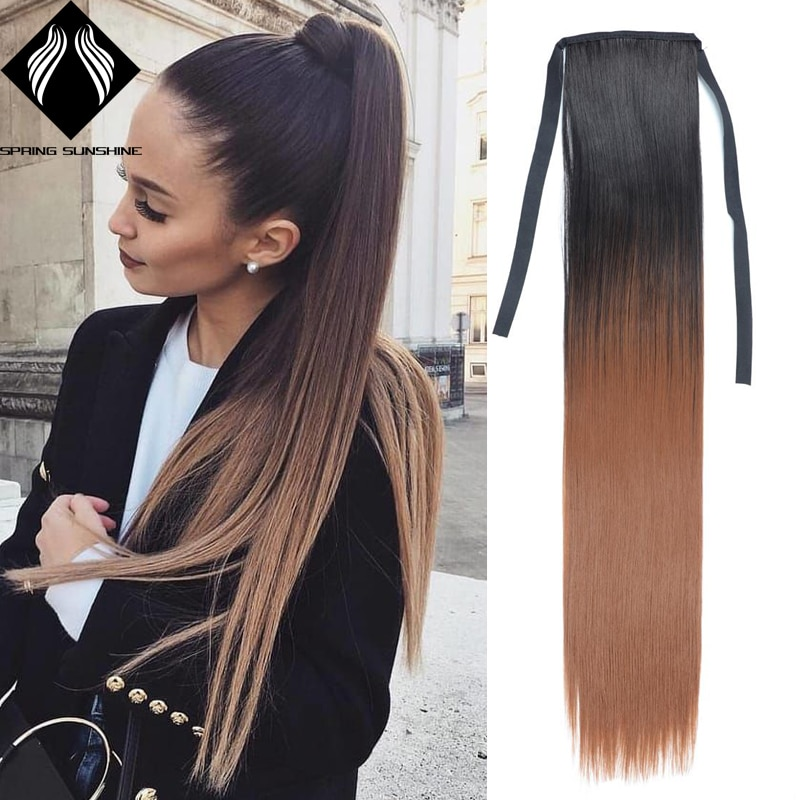 Synthetic Ponytails Long Blonde Ponytail silky Straight  Black  clip in Ponytail Drawstring Wrap Around Clip in Hair Extension