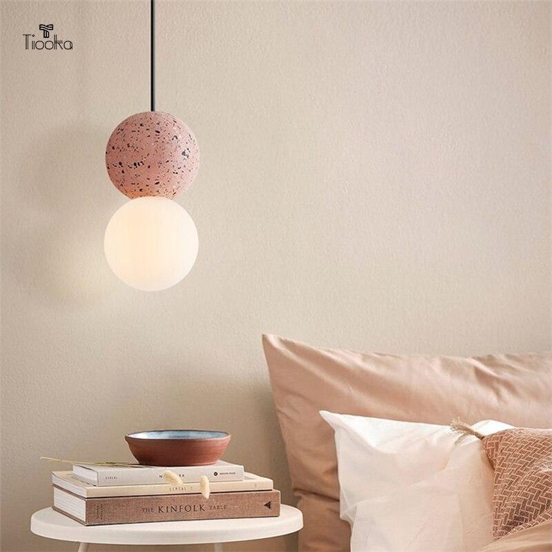 Tiooka-مصباح معلق من الرخام الوردي المستدير ، مصباح داخلي حديث قابل للتعديل ، E27