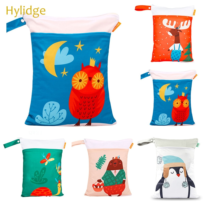 Hylidge Funny Cartoon Print Wetbag Reusable Waterproof Baby Diaper Bag Fashion Mummy Double Pocket Wet Bag With Handle 30*40CM