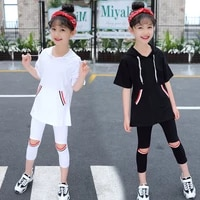 summer girls clothes sets hooded short sleeve tops pants 2pcs girls sports suit teen children clothing 5 6 7 8 9 10 12 13 years