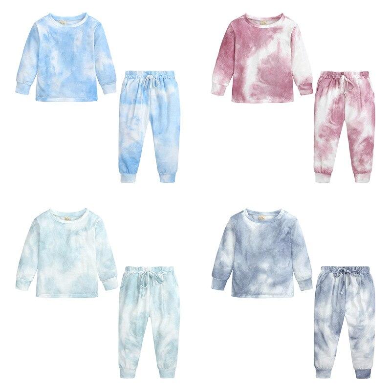 Комплекты спортивной одежды для девочек, осенне-зимняя одежда, новые комплекты детской одежды с принтом tie dye на 2-7 лет